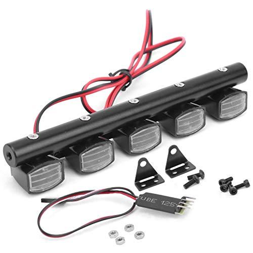 FECAMOS con Control de Tres Canales Luz de Techo Cuadrada para Coche RC Alto Brillo 5 Chips emisores de luz para Scx10 90046 90060 para Coche 1/10 RC