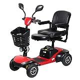 AFDK Travel Mobility Scooter plegable, silla de ruedas motorizada Scooter eléctrico Ancianos, personas mayores Rollators de 4 ruedas con asiento de 36 cm Silla de ruedas plegable con cestas Luces LED