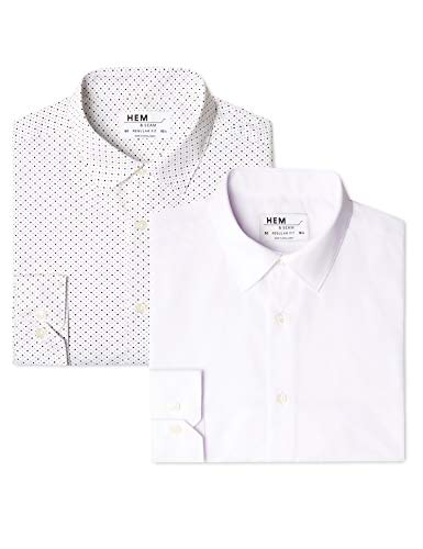 Marchio Amazon - find. Camicia a Quadri Regular Fit Uomo, Pacco da 2, Bianco (Ditsy Print   White), 39 cm, Label: M