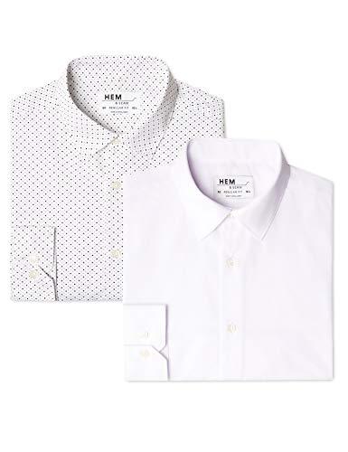 Marchio Amazon - find. Camicia a Quadri Regular Fit Uomo, Pacco da 2, Bianco (Ditsy Print...