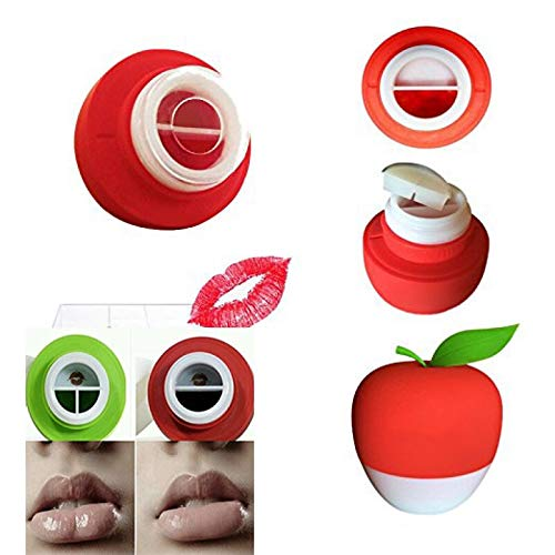 MQUPIN Lip Plumper Device Enhancer Hot Sexy Mouth Beauty Lip Pump Enhancement Pump Device Quick Lip Plumper Enhancer Lip Trainer for Women Gilrs +GEL Mouth Cover (Red (Single-Lobed))