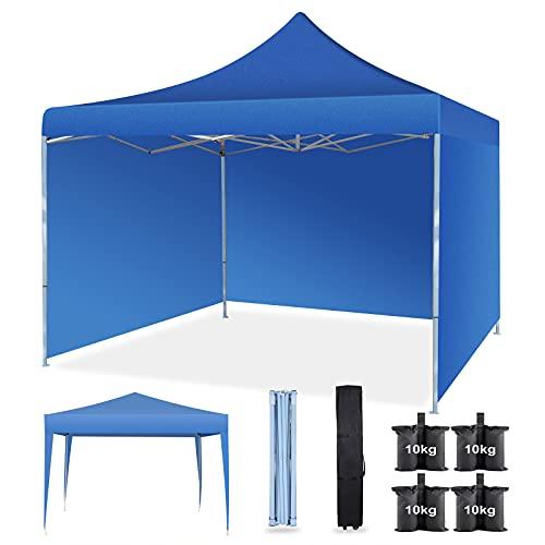 Faltpavillon 3x3m Wasserdicht mit Abnehmbare Seitenteilen, Pop-up Pavillon Partyzelt mit Tragetasche mit Rädern, Alle Jahreszeiten Überdachungszelt für Festivals Hochzeitscamping mit 4 Bein Sandsäcke