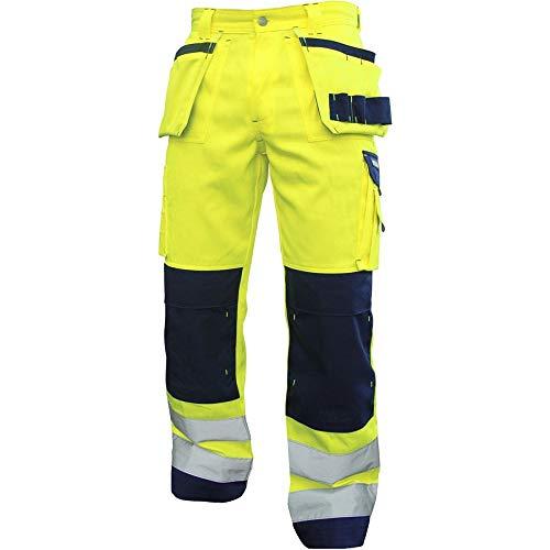 Dassy 200899-6981-60 Glasgow High Visibility werkbroek met meerdere zakken en kniezak, 290G/M2, Fluo geel/marine, maat 60
