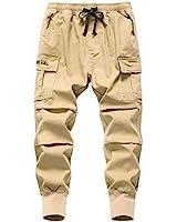 TLAENSON Big Boy's Stretch Twill Drawstring Cargo Joggers Pants Khaki Size 160/11-12 Years