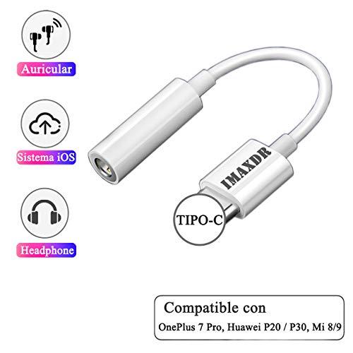 IMAXDR Tipo C a 3.5mm Adaptador de Auriculares Adaptador de Audio Adaptador USB C Adaptador USB Tipo C Adaptador Convertidor para OnePlus 7 Pro, Huawei P20 / P20 Pro / P30 Pro, Mi 8/9