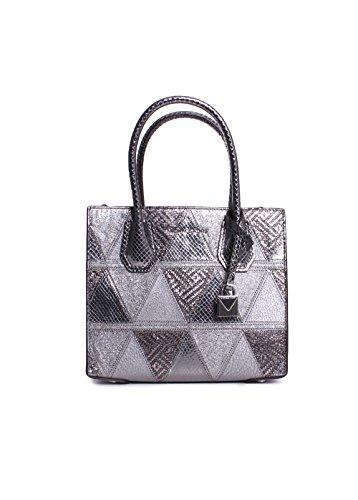 MICHAEL MICHAEL KORS MERCER medium messenger - metallic crackle leather, Light Pewter Silver