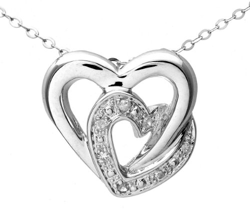Naava Women's 9 ct White Gold Pave Set Diamond Double Heart Pendant and Chain Necklace of 46 cm
