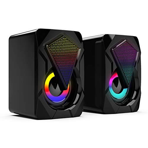 DXSS Altavoces para ordenador, cable USB, subwoofer estéreo, luces LED RGB multicolor,...