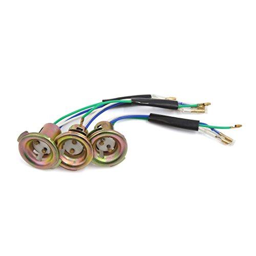 sourcingmap 3pcs ton bronze Métal 3-Wire Phare Moto Douille pour CG125