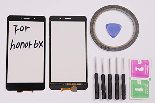 JRLinco ParaHuawei Honor 6X Pantalla de Cristal Táctil, Pieza de Recambio Touchscreen Glass Display para Negro + Herramientas y Adhesivo de Doble Cara + Paquete de Limpieza