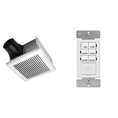 Broan-NuTone AE110 Invent Energy Star Qualified Single-Speed Ventilation Fan & ENERLITES Countdown Timer Switch for bathroom fans and household lights, HET06A-R, White