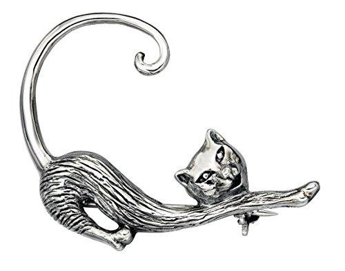 Azzaria plateado one blank elástico broche con forma de gato... Longitud: 3,5 cm, ancho: 4 cm... 925 plata sello