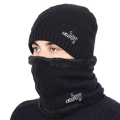 Bonnet Unisexe Chapeau tricoté Homme Beanie Hats, Pièceschaudes Chapeaux d'hiver Chapeaux GS pour Femmes Hommes Épais Coton Hiver Accessoires Femme Bonnet Homme Écharpe @ Noir