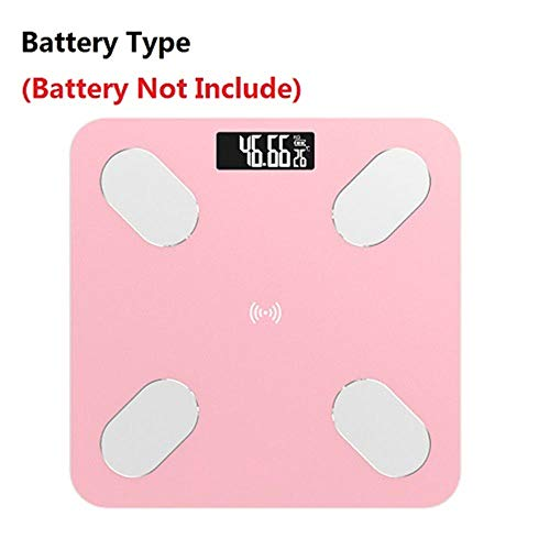 Weegschaal Smart Scales Household Premium Support Bluetooth APP Vetpercentage Digitaal lichaamsvet Weegschaal Pink_Using_battery