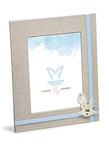 Marco de fotos de mesa para niño de 20 x 23,5 cm de tela de lino con adornos celestes, estructura trasera de madera, tamaño de la foto 13 x 18 cm. Idea de regalo.