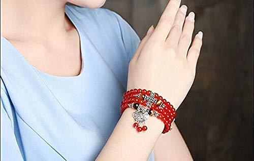 ketting 2020 Mooie rode kristallen armbanden kralen 6mm Lucky Tibetaanse zilver glas hanger voor liefhebbers kristallen armband meerlagige sieraden