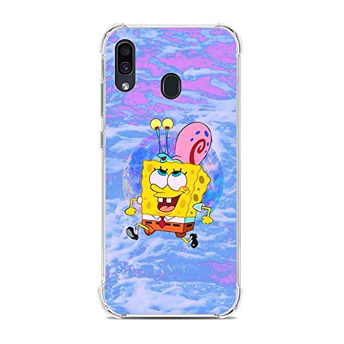 Shockproof Thin Protective Clear Soft Liquid TPU Case Cover for Samsung Galaxy A30/A20/M10S-SquarePants-Cartoon Sponge-Bob 7