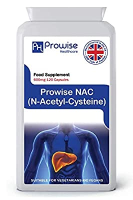 PROWISE NAC N-Acetyl- Cysteine 600mg 120 capsules UK Made GMP Guaranteed Quality Suitable for vegetarians and vegans by PROWISE HEALTHCARE