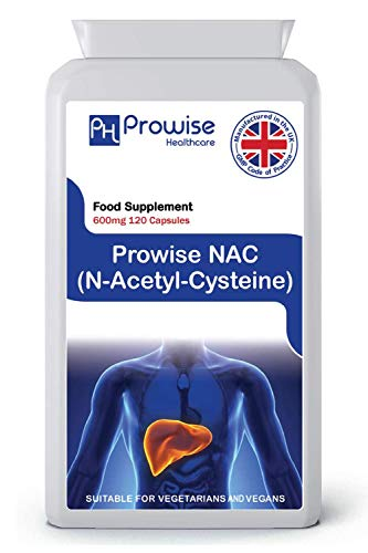 NAC N-Acetil-Cisteína 600 mg 120 cápsulas - Fabricado en el Reino Unido | Estándares GMP de Prowise Healthcare | Apto para vegetarianos y veganos.