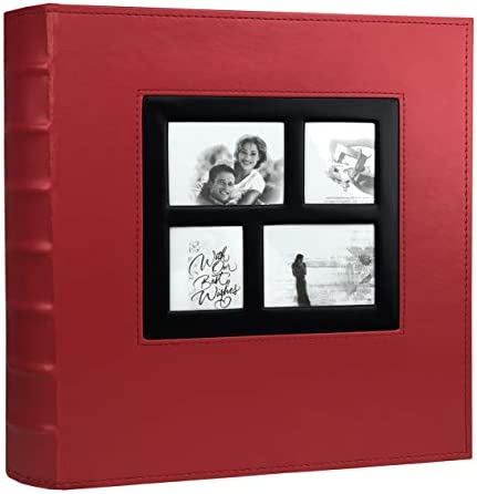 RECUTMS Photo Album 4x6 Holds 500 Photos Black Pages Large Capacity Leather Cover Wedding Family product image