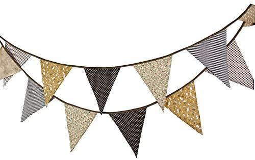 YUIP Banderines de tela de 3,3 m con 12 banderines triangulares de doble cara vintage, guirnaldas de tela, decoración para dormitorio, fiestas de cumpleaños o decoración de boda