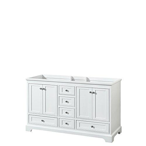 Wyndham Collection Deborah 60 inch Double Bathroom Vanity in White, No Countertop, No Sinks, and No Mirror