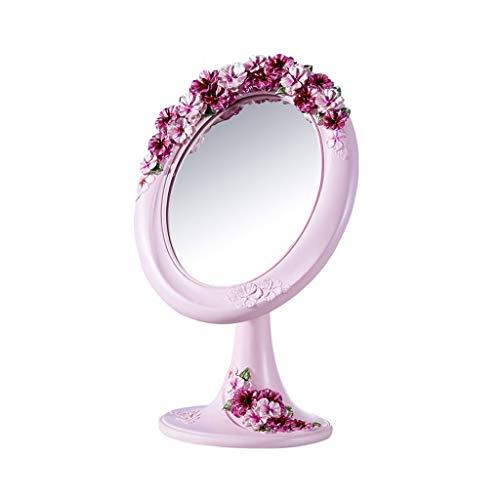 Lrxq Europäischer Art-Rosa-Blumen-Rahmen-Tischplattenspiegel-einfacher kreativer Harz Countertop-tragbarer Modespiegel