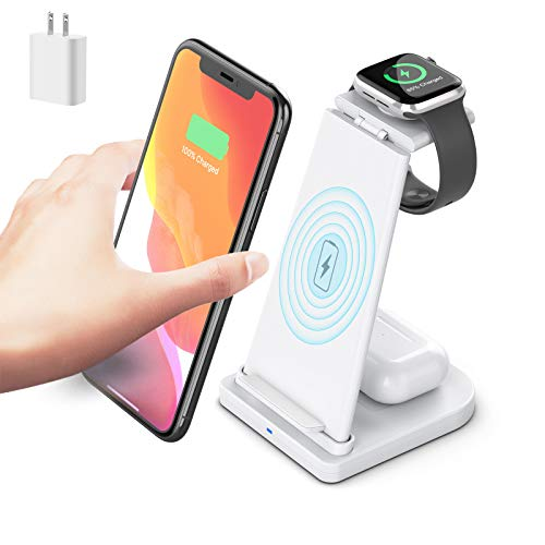 Wireless Charger, LUKKAHH 3 in 1 Wireless Charging Station for iPhone 12/12Pro/11/Xs Max Apple Watch 5/4/3/2 AirPods 2/Pro,Wireless Charging Stand for Samsung S20 (with 18W QC 3.0 Adapter) (White)