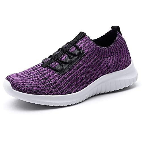 konhill Zapatillas de senderismo cómodas para mujer - Tenis atlético casual sin cordones, (2122 Púrpura), 39 EU