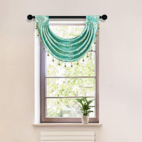 Jacquard Damask Curtain Valance for Living Room Single Swag Waterfall Valance for Kitchen (Damask-Blue, 30' W x 22' L,1 Panel)