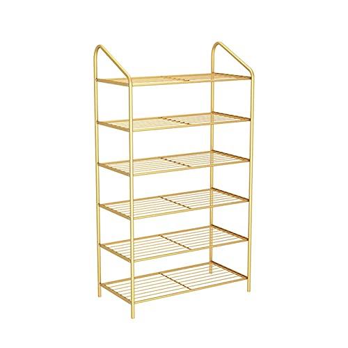 LYLY Zapatero moderno y simple de hierro para zapatos, estante de zapatos multicapa, organizador de zapatos para dormitorio, puerta de dormitorio (color: dorado, tamaño: 6 niveles)