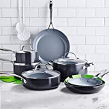 GreenPan Valencia Pro 100% Toxin-Free Healthy Ceramic Nonstick Metal Utensil Dishwasher/Oven Safe Cookware Set, Pots and Pans, 11-Piece, Gray