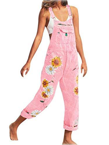 Tomwell Mujer Mono Vaqueros Pantalones con Tirante Denim Recto Delgado Casual Jeans de Mezclilla Impresión de Flores