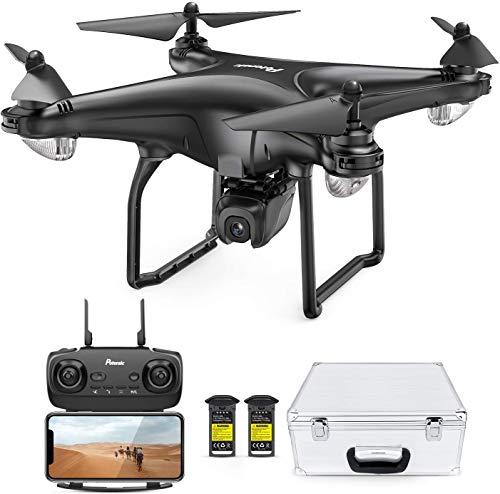 Potensic FPV Drohne mit 1080P HD Kamera, RC Quadrocopter, Dual GPS und Follow me Funktion, Live Übertragung mit 120° Weitwinkel, Hochhaltung, 2 Akkus und Koffer D58 Schwarz