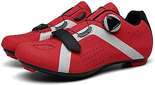 KUXUAN Zapatillas de Ciclismo para Hombre Mujer Zapatillas de Bicicleta de Montaña Zapatillas de Ciclismo,Red-42EU=(260mm)