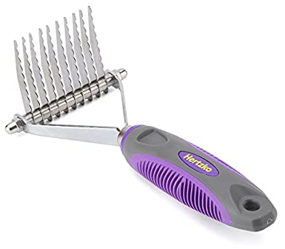Undercoat Dematting Comb / Rake by Hertzko – Long Blades with Safety Edges - Great for Cutting and Removing Matted, Tangled, or Knotted Hair from Hertzko