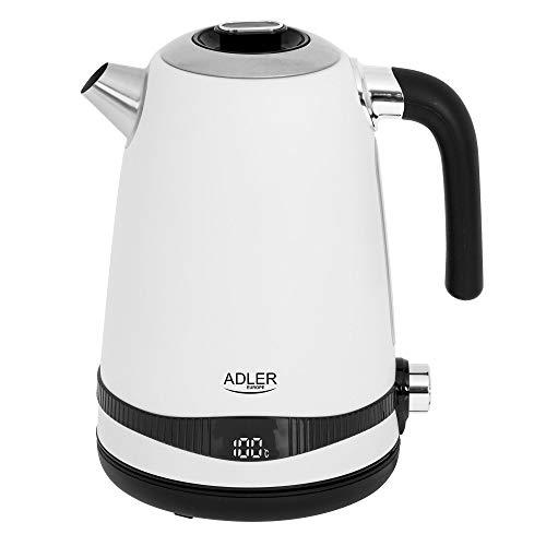 Adler AD 1295w SS - Hervidor de agua (1,7 L, pantalla LCD y regulación de temperatura), color blanco satinado