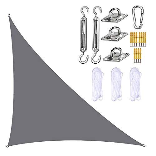 JJIIEE Parasol para Patios, toldo Triangular con Kit de fijación, 3 Cuerdas, 95% de Bloqueo UV, Resistente al Agua y a los Rayos UV, marquesina para jardín y Patio al Aire Libre,Gris,3x3x4.3M