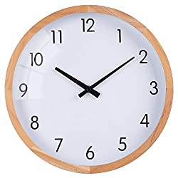 Classic Wall Clock, Retro Decorative Analog Clock with Wooden Frame, Silent Non-Ticking Round Hanging Clock for Bedroom, Living Room, Apartment, Study, Kitchen, Cafe, Office - 12 Inch