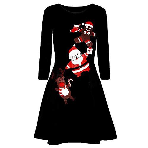 MRULIC Damen Blusenkleid Abendkleid Knielang Kleider Weihnachts Winterrock Festliches Kleid Mehrfarbig Verfügbar Schön Neujahr Herbst und Winter Kleid(H-Schwarz,EU-38/CN-L)