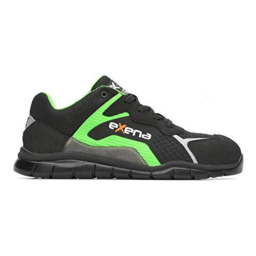 Exena - Zapatos de seguridad Route S1P SRC con puntera de aluminio, tejido de perforación cero Negro Size: 41 EU