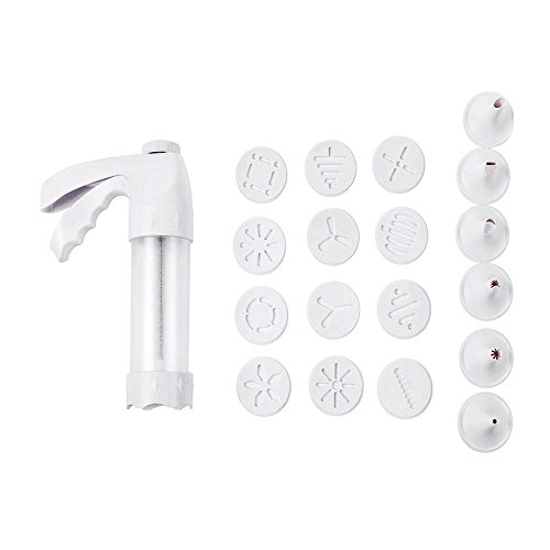 Cookie Press Kit Biscuit Maker Cookie Moulds Tools, Clear Cookie Press with 12 Discs and 6 Decorating Tips