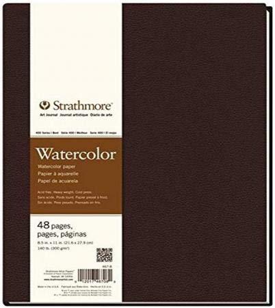1 cuaderno 24 hojas serie 400 Watercolor 21,6x27,300 g/m2, grano fino blanco natural