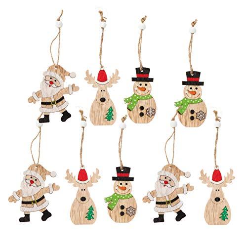 BESPORTBLE 9Pcs Weihnachtsbaum Holz Anhänger Holz Weihnachtsmann Schneemann Hängenden Tags Holz LKW Ausschnitte Weihnachtsbaum Dekoration (Stil 1)