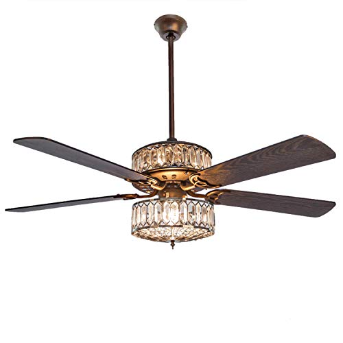 River of Goods Geometric Glam 52 Inch Width Crystal Double-Lit LED Ceiling Fan, Clear Ceiling Fans