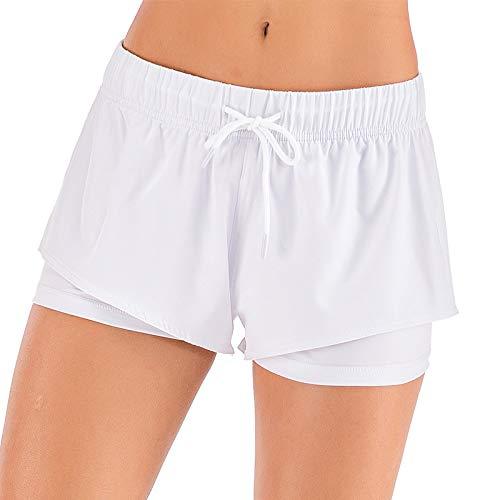Pantalones Cortos Deportivos para Mujer, Entrenamiento para Correr, Yoga, salón de Fitness, Pantalones de Entrenamiento elásticos con Doble Capa XXL