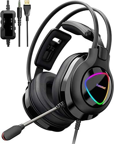 Gaming Kopfhörer für PC, Tronsmart Alpha Gaming Headset mit 50mm HD Treiber Stereo Sound Gaming Headset mit Mikrofon, RGB Beleuchtung Gamer Headset mit Inline-Steuerung, Rauschunterdrückung Over Ear
