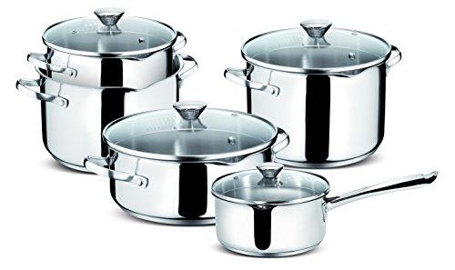 Lagostina Smart Lot de casseroles en Acier Inoxydable, 9pièces
