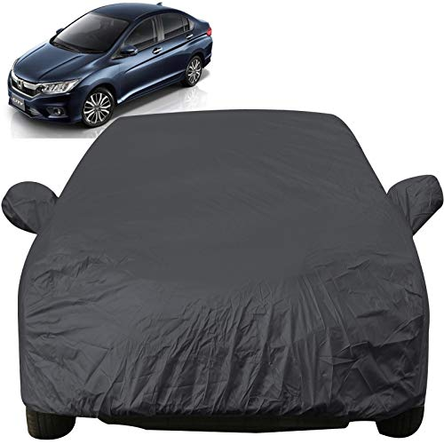 Autofact Car Body Cover with Mirror Pockets Compatible for Honda City Idtech (2014 to 2018) (Triple Stitched, Bottom Fully Elastic, Dark Grey)