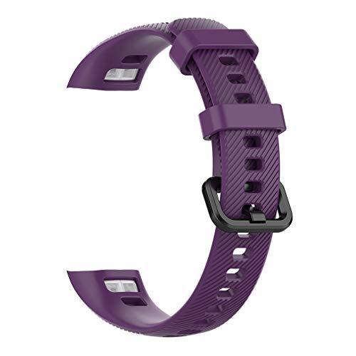 SeniorMar-UK Silikonarmband für Huawei Honor Band 5 Standard Smart Armband Sport Ersatzarmband Armband Gürtel dunkellila